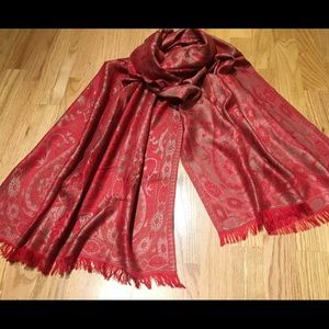 Shimmery Red Reversible Scarf/Wrap